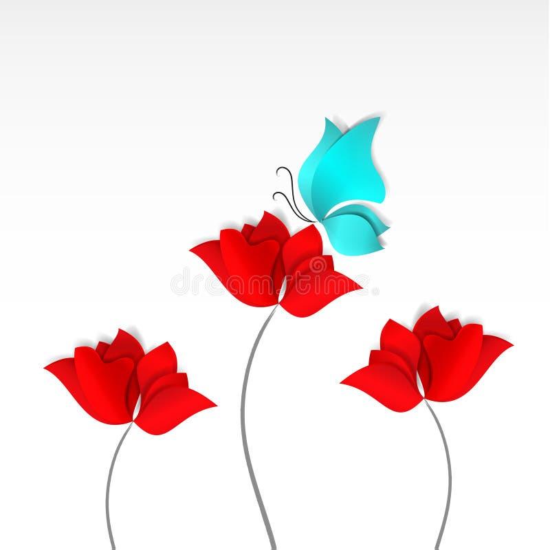 明亮的纸删节的样式红色开花蓝色蝴蝶白色背景 3D传染媒介,卡片,春天,夏天,爱,植物群,母亲 皇族释放例证