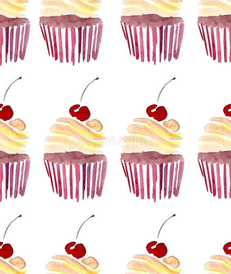 明亮的美丽的嫩可爱的逗人喜爱的可口鲜美美味的夏天点心两杯形蛋糕用红色樱桃仿造水彩 向量例证