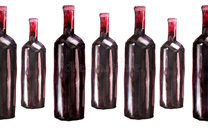 明亮的美丽的抽象图表可爱的美妙的逗人喜爱的可口鲜美美味的夏天瓶红葡萄酒仿造水彩 免版税库存图片
