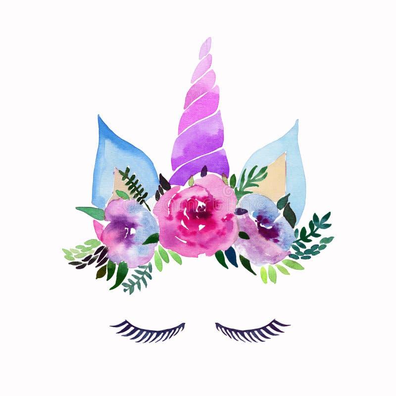 明亮的美好的独角兽的春天可爱的逗人喜爱的神仙的不可思议的五颜六色的样式与睫毛的在花卉嫩冠 向量例证