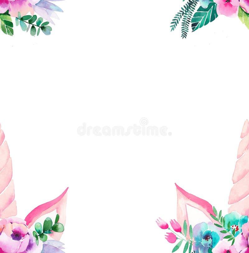 明亮的美好的独角兽的春天可爱的逗人喜爱的神仙的不可思议的五颜六色的样式与睫毛的在花卉嫩冠 免版税图库摄影