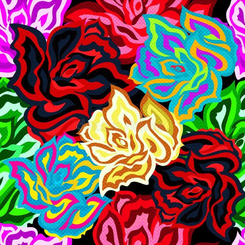 明亮的美好的色的玫瑰无缝的背景 皇族释放例证