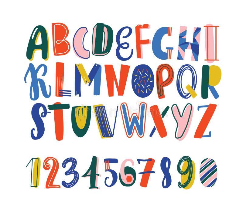 明亮的色的手拉的拉丁字体或英语字母表用杂文装饰的孩子的 被安排的滑稽的信件  向量例证