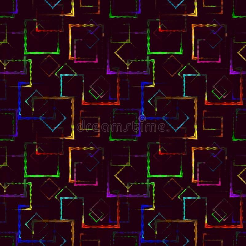 明亮的色的被雕刻的正方形和霓虹菱形一个抽象伯根地背景或样式的 库存例证
