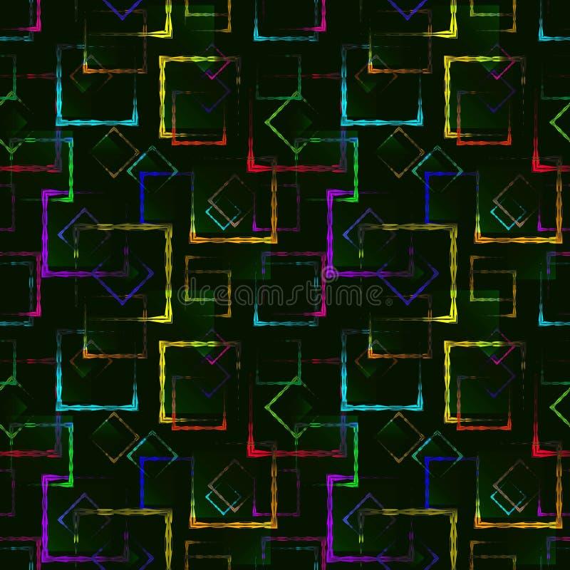 明亮的色的被雕刻的正方形和霓虹菱形一个抽象绿色背景或样式的 皇族释放例证