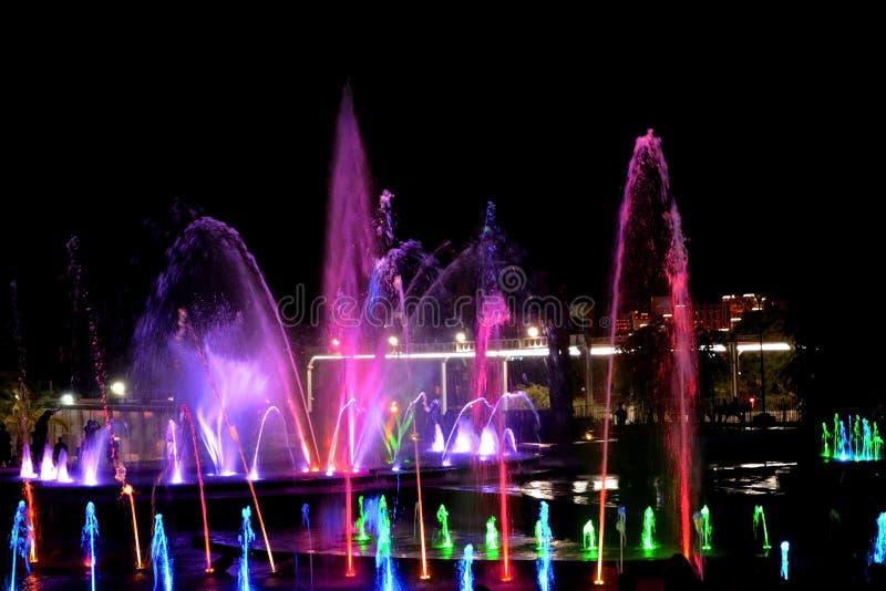 明亮的色的音乐喷泉埃拉特,飞溅多彩多姿的水 五颜六色的夜生活在以色列 图库摄影