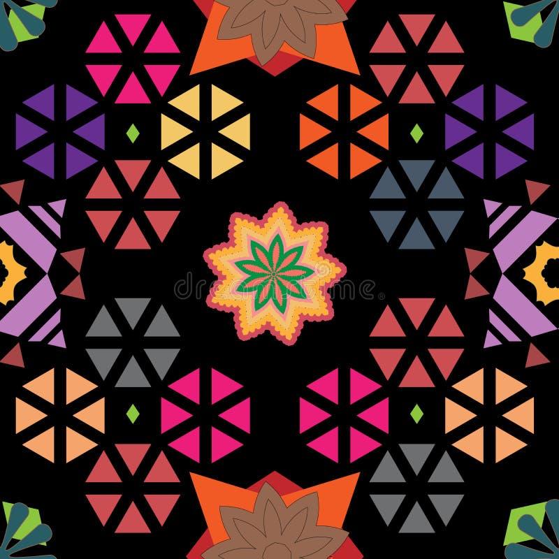 明亮的花卉和几何现代重复的样式 向量例证