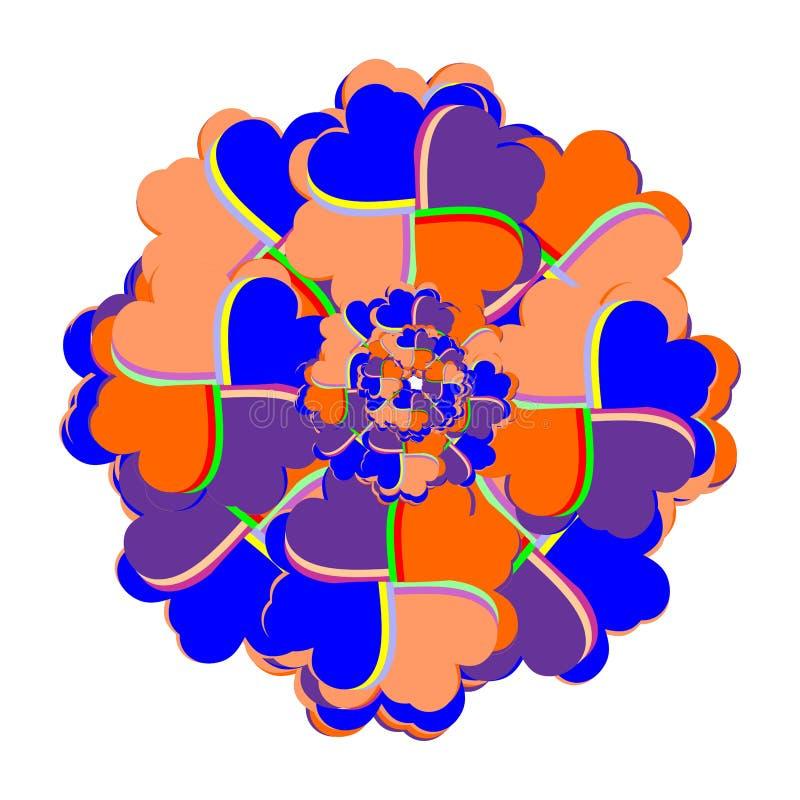 明亮的花大奖章组成由在钾的心脏 免版税图库摄影