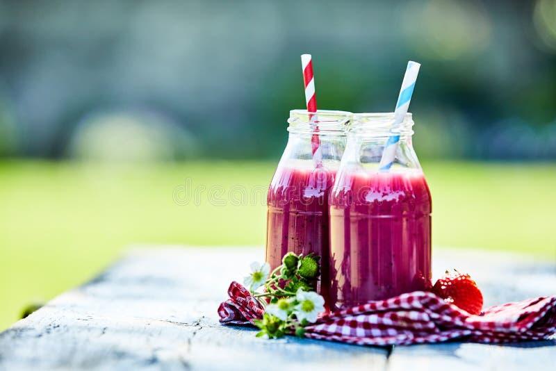 明亮的草莓圆滑的人夏天野餐桌 库存图片