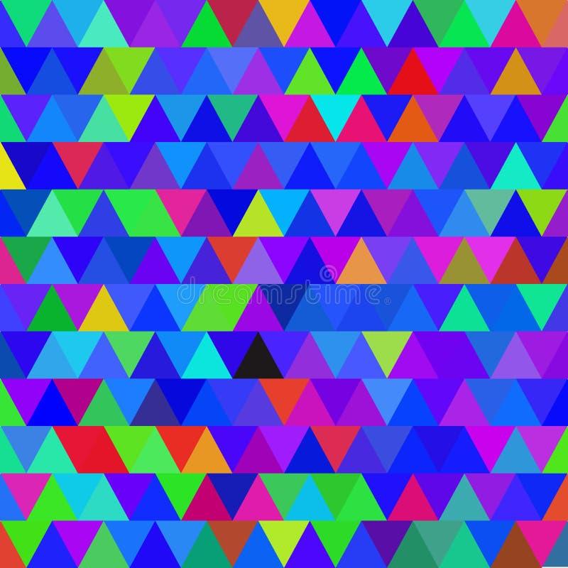 明亮的蓝色与三角的传染媒介无缝的样式 抽象背景 库存例证