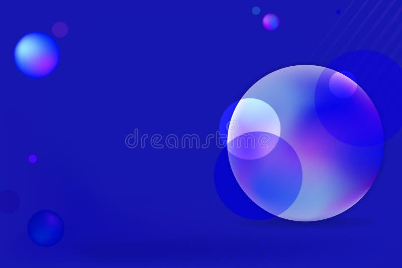 明亮的蓝色五颜六色的圈子泡影背景 库存例证