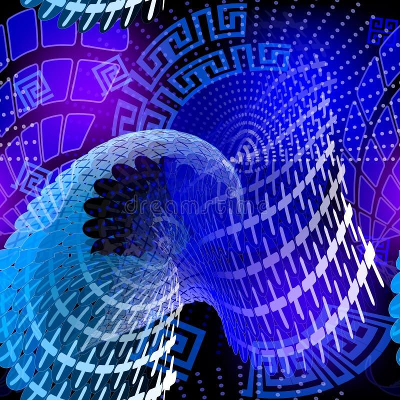 明亮的蓝色发光的抽象传染媒介无缝的样式 现代fut 库存例证