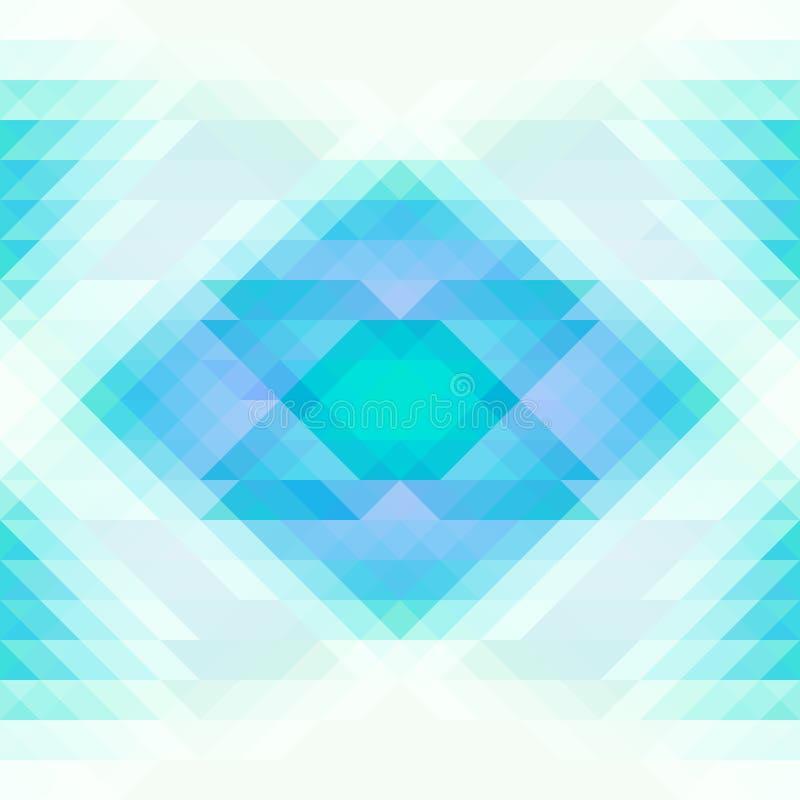 明亮的蓝色和白色三角和菱形抽象无缝的背景 重复几何样式 向量例证