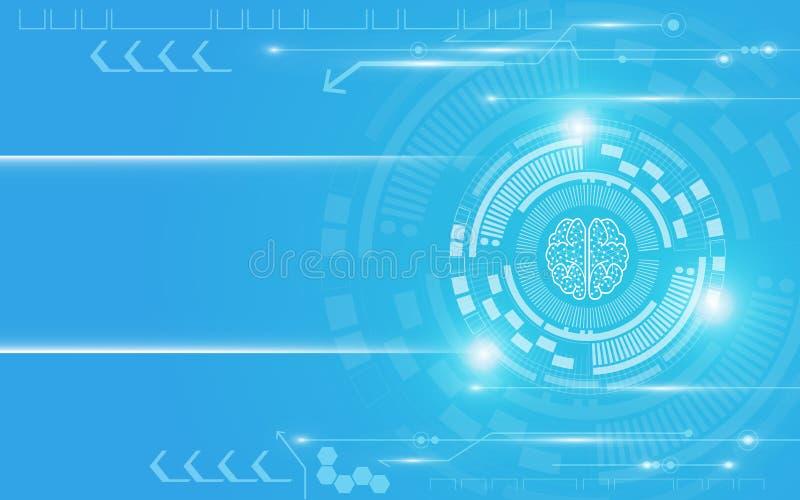 明亮的蓝色和白色技术摘要背景 向量例证
