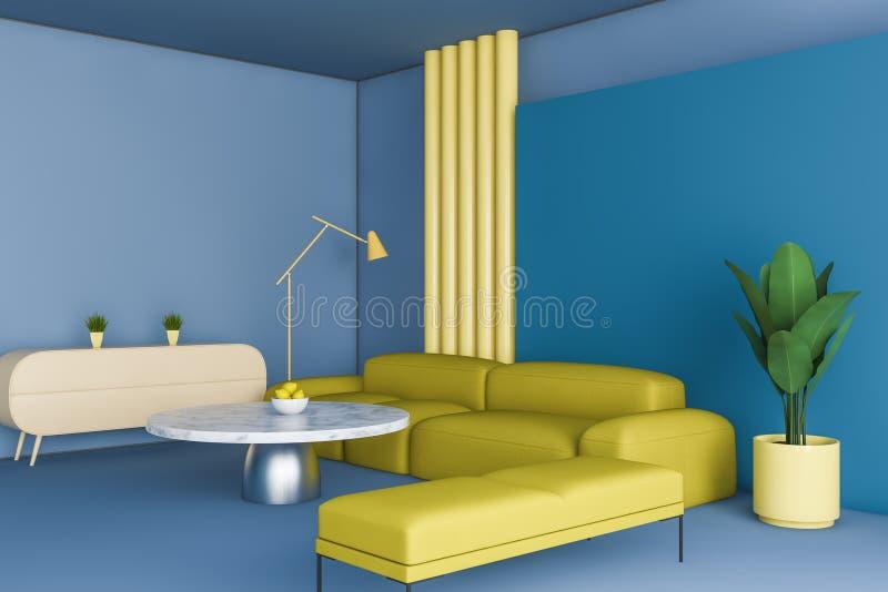 明亮的蓝色和黄色客厅角落 皇族释放例证
