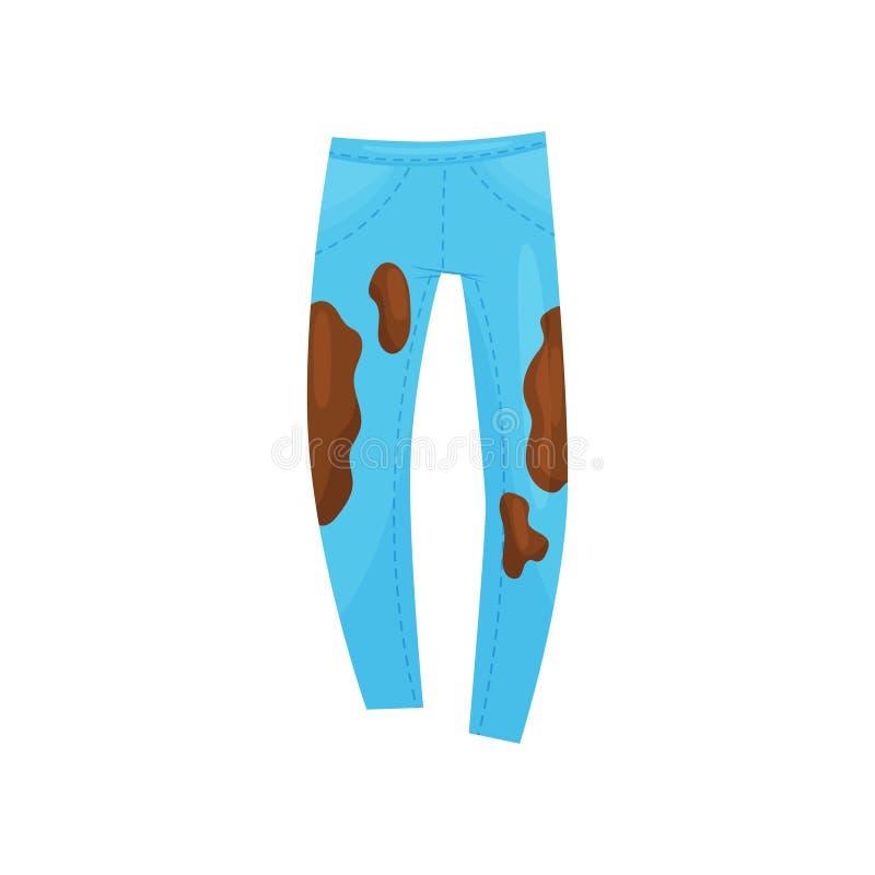 明亮的蓝色牛仔裤平的传染媒介象有棕色污点的 对洗涤的肮脏的裤子 洗衣店题材 皇族释放例证