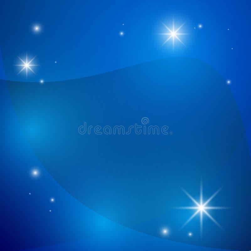 明亮的蓝色背景和星 库存例证