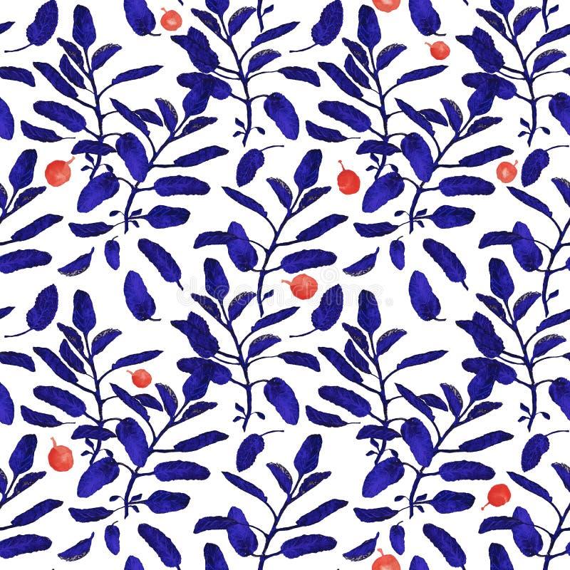 明亮的蓝色贤哲分支和在白色背景隔绝的红色莓果无缝的表面样式 植物现代 皇族释放例证