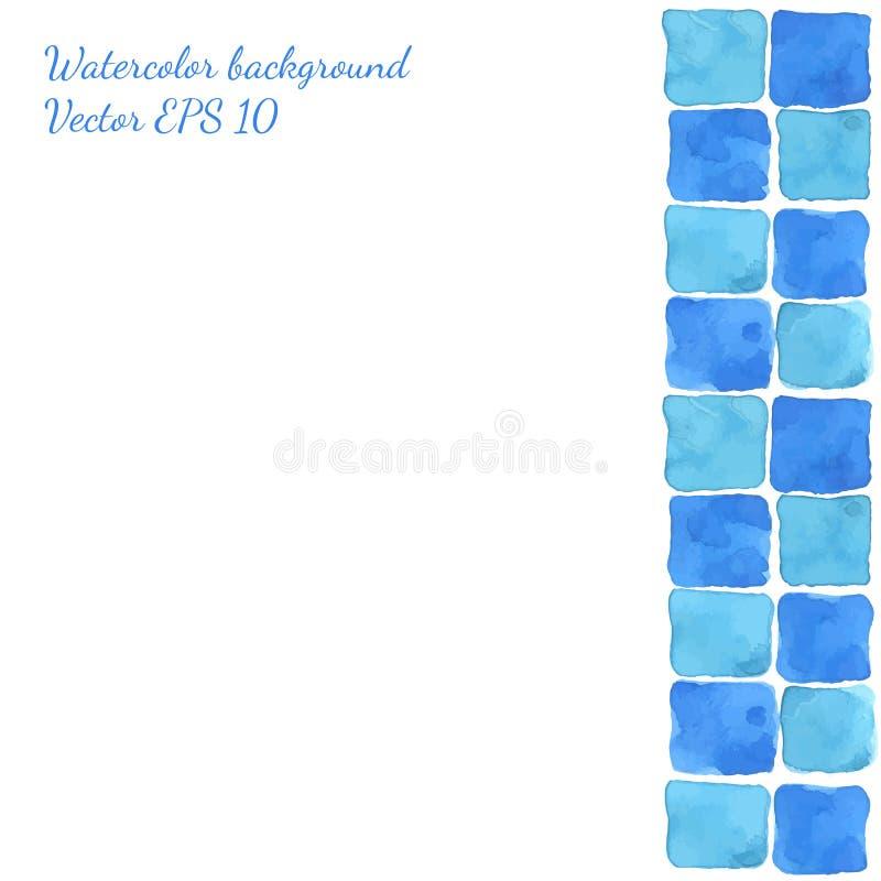 明亮的蓝绿色无缝的水彩瓦片背景 向量例证