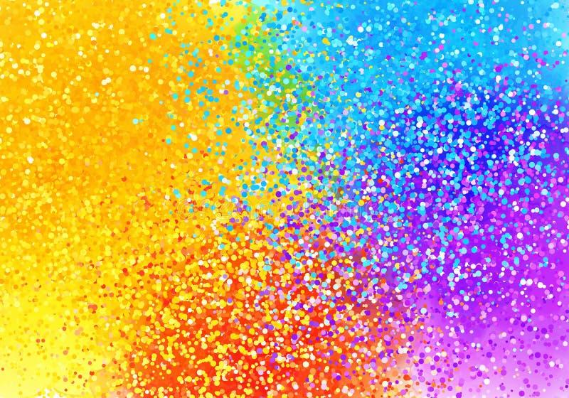 明亮的被喷洒的油漆彩虹上色抽象水平的背景 皇族释放例证