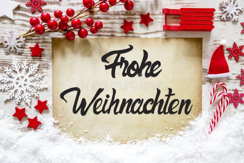 明亮的装饰,书法Frohe Weihnachten意味圣诞快乐 免版税库存图片