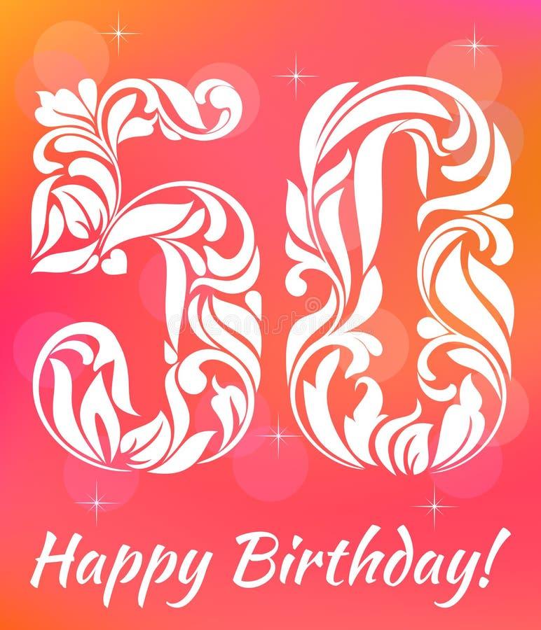 明亮的贺卡模板 庆祝50年生日 装饰字体 库存例证