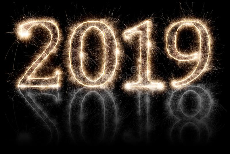 明亮的闪烁发光物烟火的烟花第2019 2018变动ha 向量例证