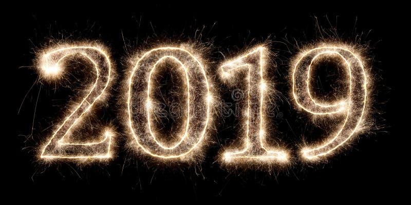 明亮的闪烁发光物烟火的烟花第2019新年快乐 库存例证