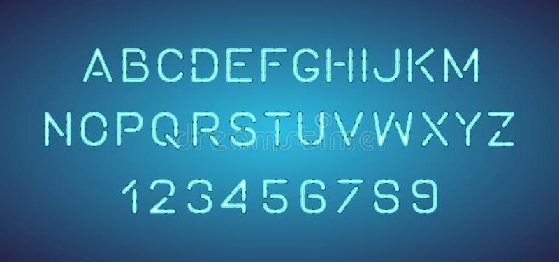 明亮的霓虹字母表信件,数字 库存例证