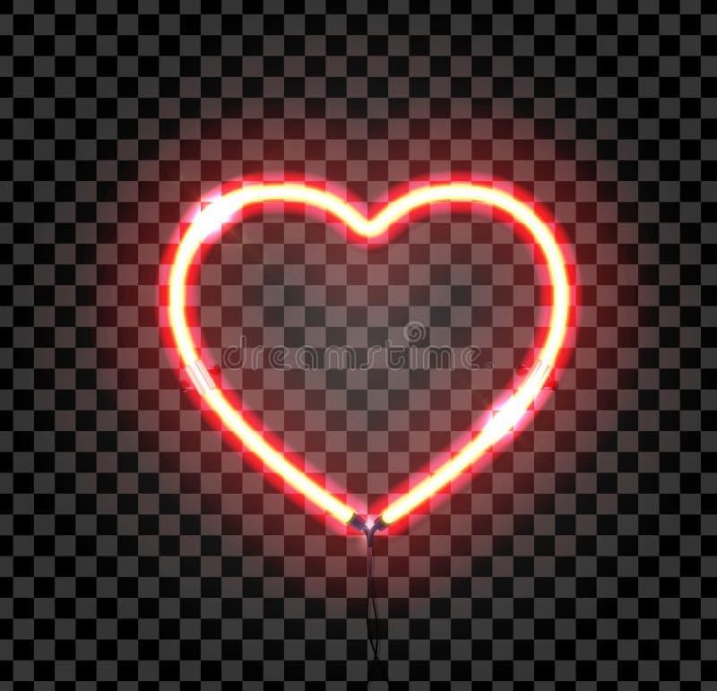 明亮的霓虹心脏 在黑暗的透明背景的心脏标志 库存图片