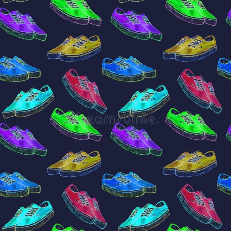 明亮的霓虹色板显示,在深蓝背景的无缝的样式五颜六色的现代运动鞋  皇族释放例证