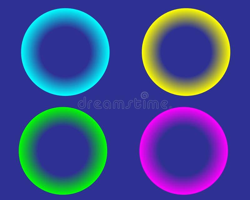 明亮的霓虹色环在白色背景的球 向量例证