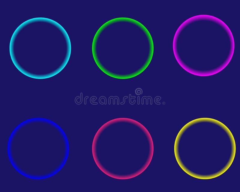 明亮的霓虹色环在白色背景的球 皇族释放例证