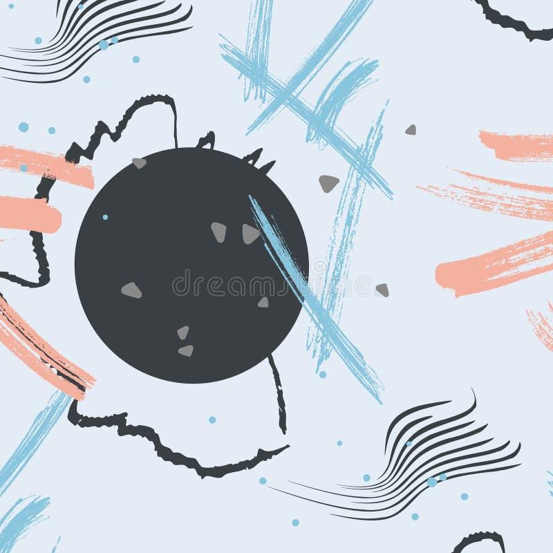 明亮的颜色抽象样式背景withlines、小点和其他形状的传染媒介例证 创造性的装饰元素 向量例证