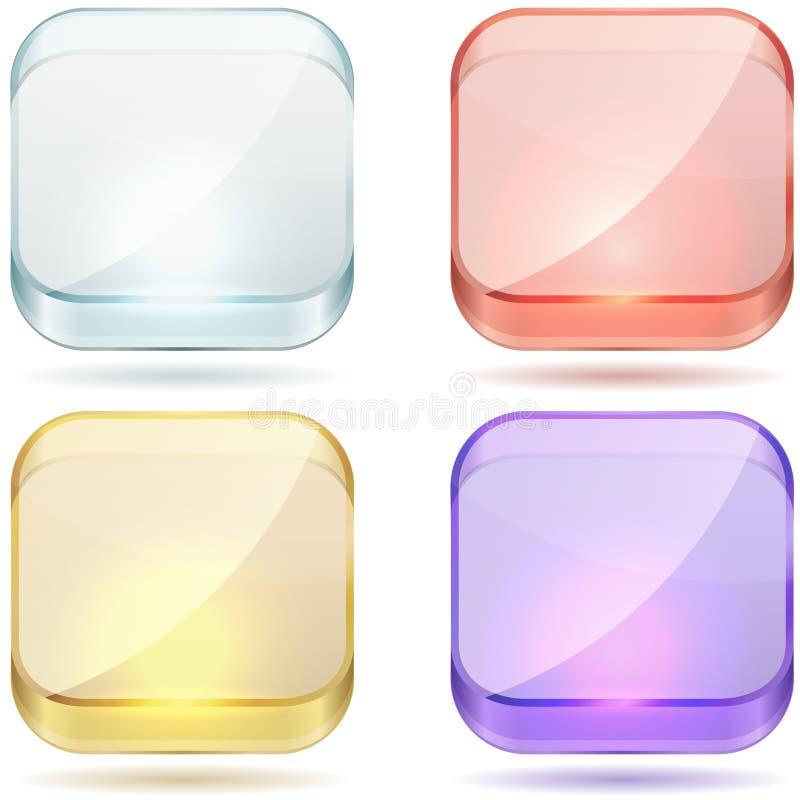 明亮的颜色玻璃按钮。 向量例证