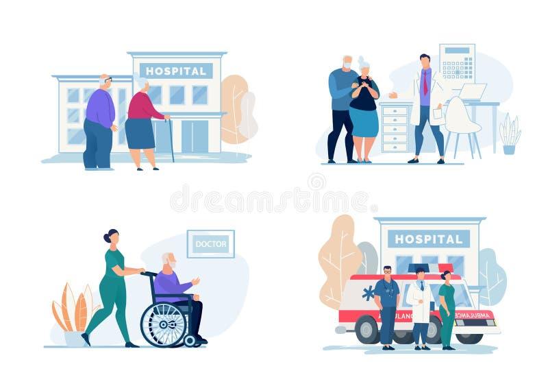 明亮的飞行物医院参观字法,动画片 库存例证