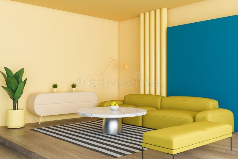 明亮的黄色和蓝色客厅角落 库存例证