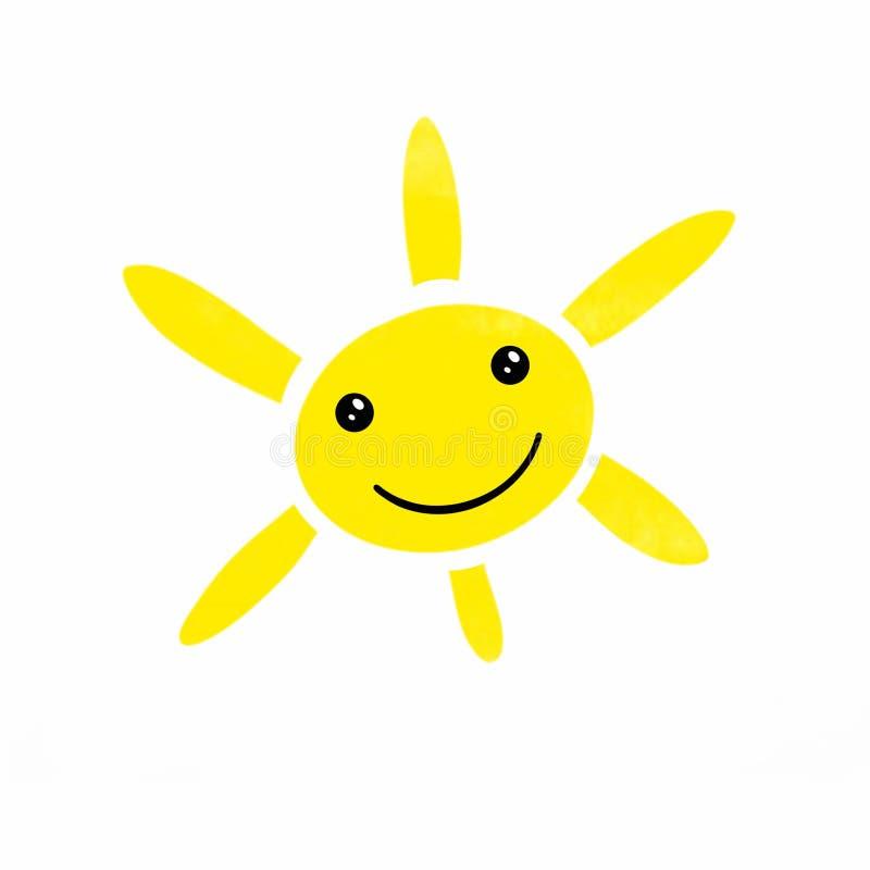 明亮的黄色微笑的太阳的例证与六光芒的 库存例证