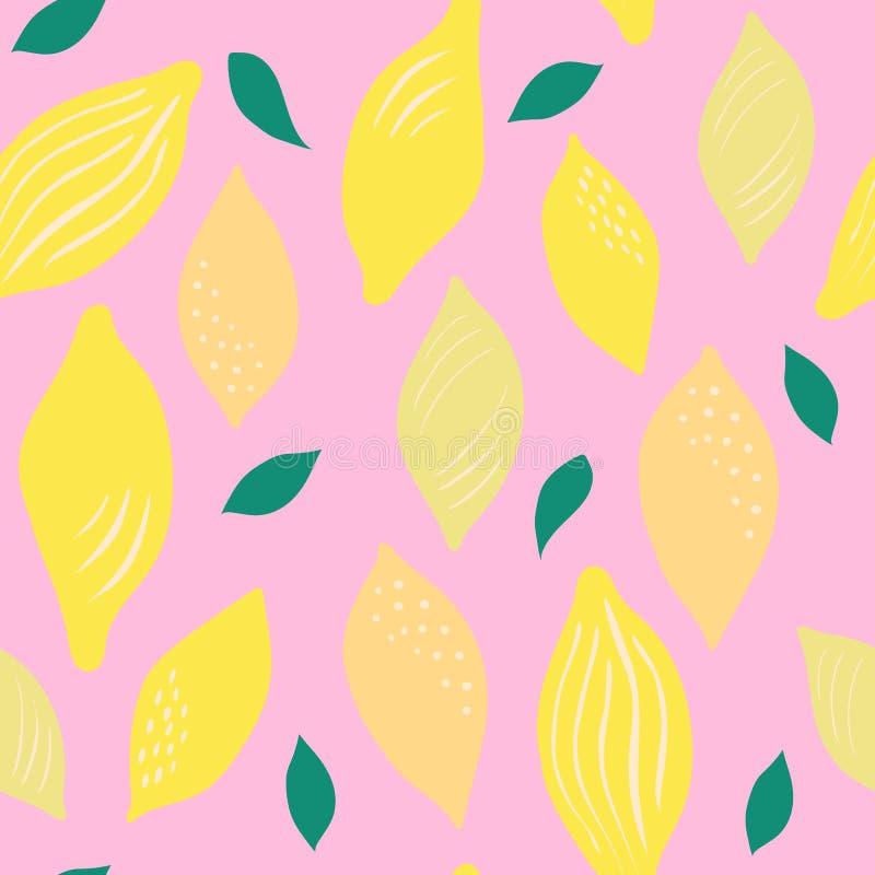 明亮的黄色柠檬的无缝的样式在桃红色背景的 库存例证