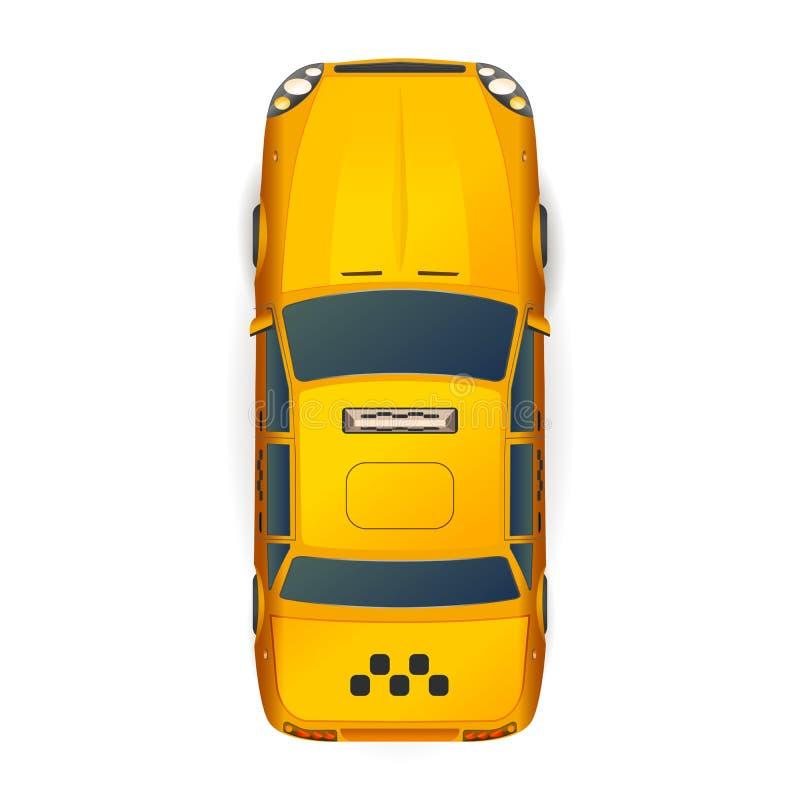 明亮的黄色现实出租汽车汽车顶视图在白色的 向量例证