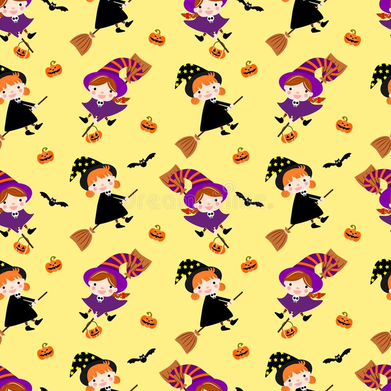 明亮的黄色背景的逗人喜爱的巫婆女孩 万圣节的无缝的模式 库存例证