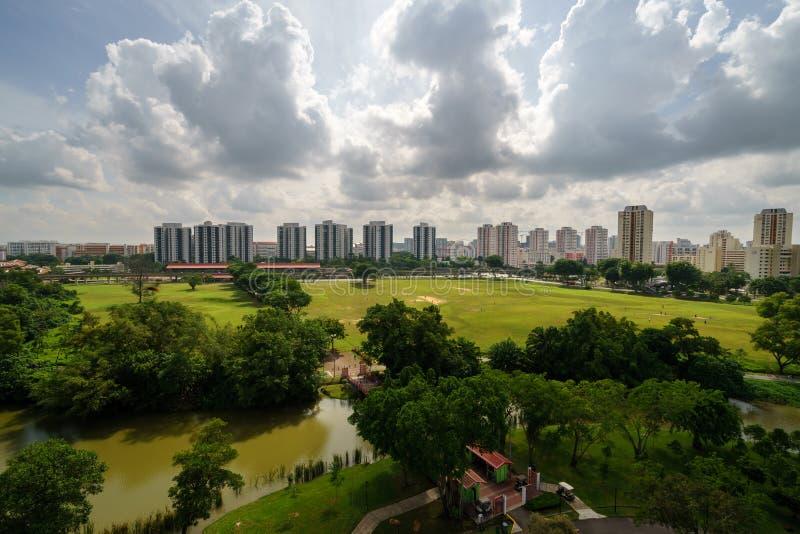 明亮的晴天中国庭院,新加坡 库存照片