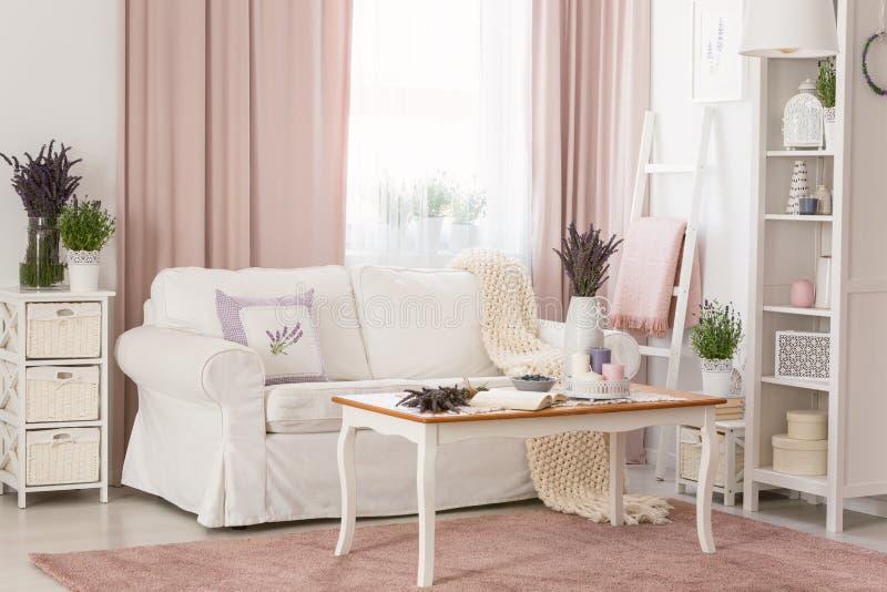 明亮的provencal客厅内部真正的照片与白色沙发,在肮脏的桃红色地毯,有的装饰的机架的木咖啡桌的 库存照片
