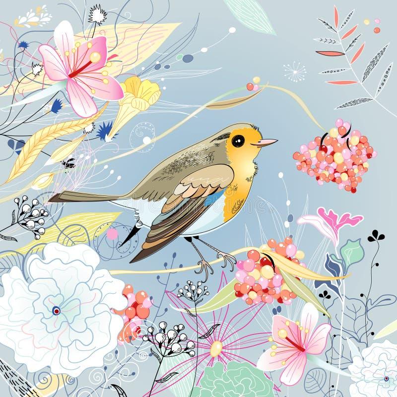 与鸟的花卉背景 库存例证