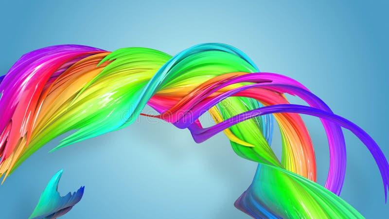 明亮美好的多彩多姿的丝带闪烁 抽象彩虹颜色丝带被扭转入在a的一个圆结构 向量例证