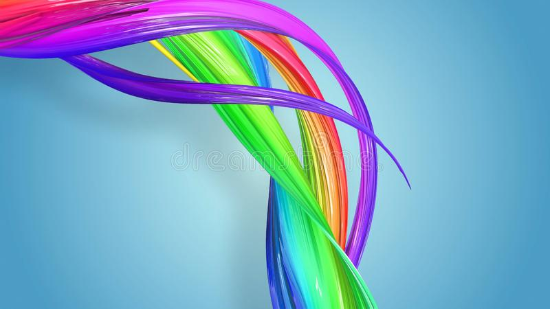 明亮美好的多彩多姿的丝带闪烁 抽象彩虹颜色丝带被扭转入在a的一个圆结构 皇族释放例证