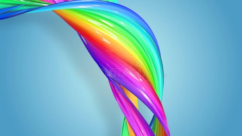 明亮美好的多彩多姿的丝带闪烁 抽象彩虹颜色丝带被扭转入在a的一个圆结构 库存例证