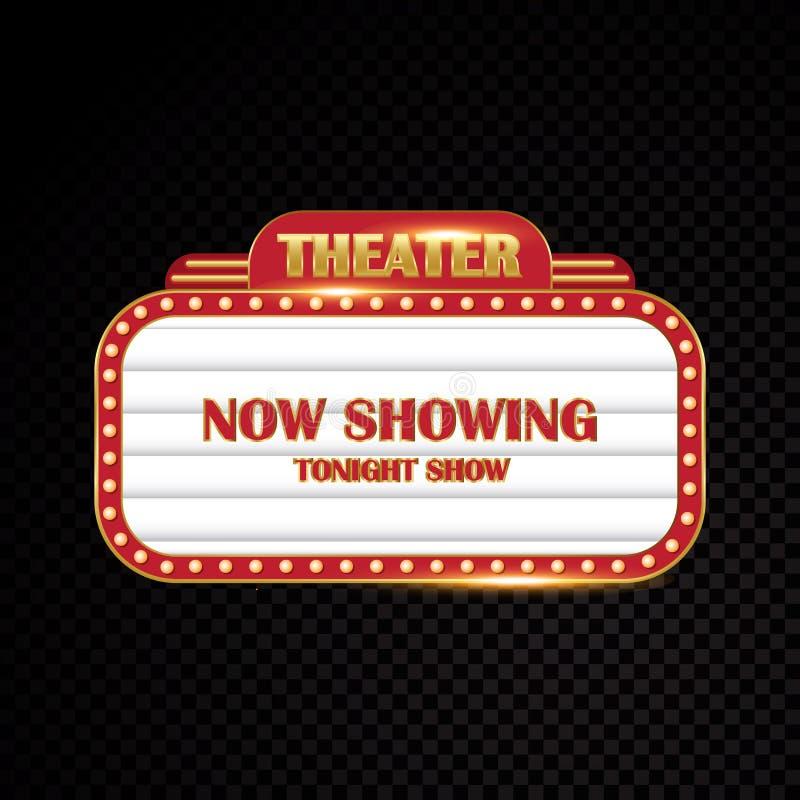 明亮金剧院发光的减速火箭的戏院霓虹灯广告 向量例证