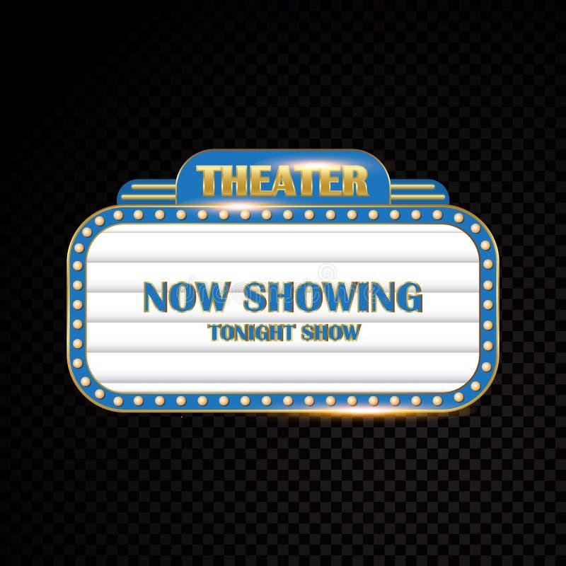 明亮金剧院发光的减速火箭的戏院霓虹灯广告 库存例证