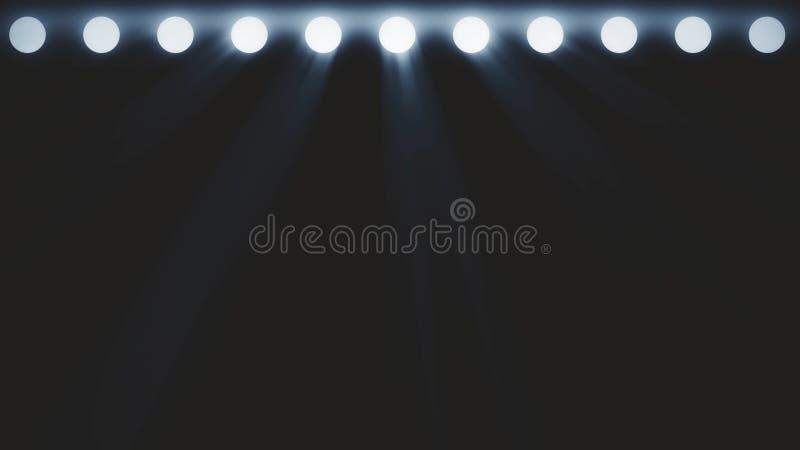 明亮阶段光闪动 与光的自由阶段 阶段照明设备背景 音乐会光 阶段聚光灯与 皇族释放例证